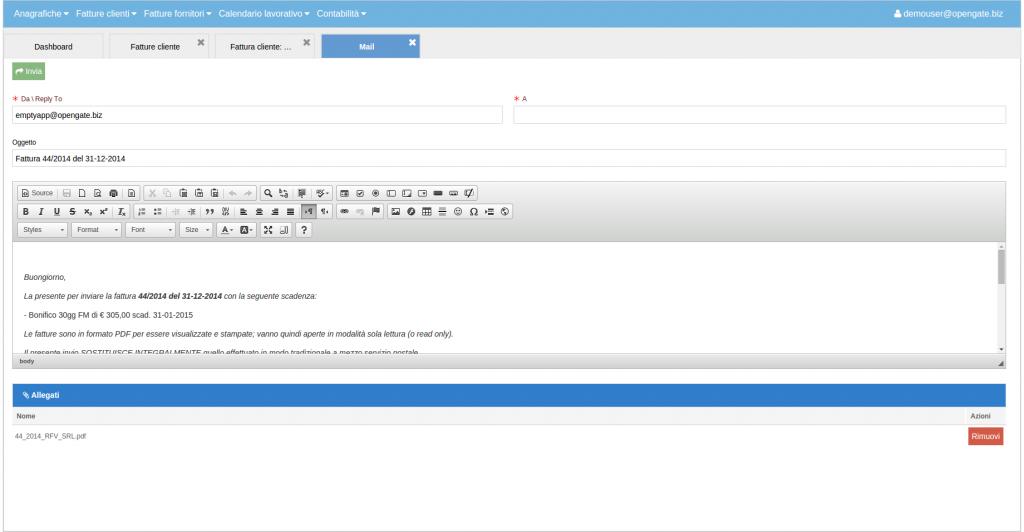 36 invia mail fattura al cliente